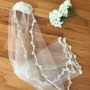 White Ivory Vintage Long Lace Veil, Wedding Veil